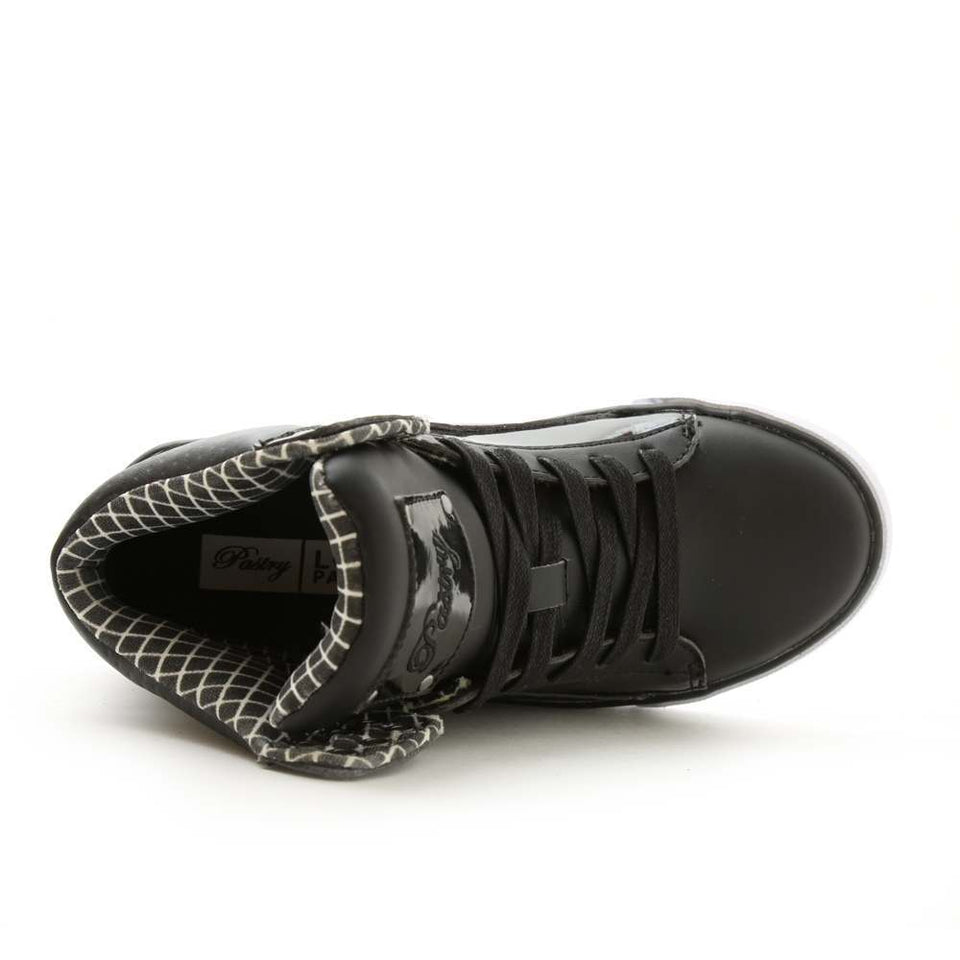 Pastry Pop Tart Grid Youth Hip Hop Dance Sneaker in Black/Black