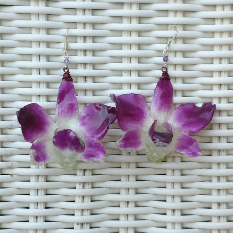 Whole Purple Orchid Earrings