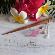 Pink Skeleton Leaf Hairstick