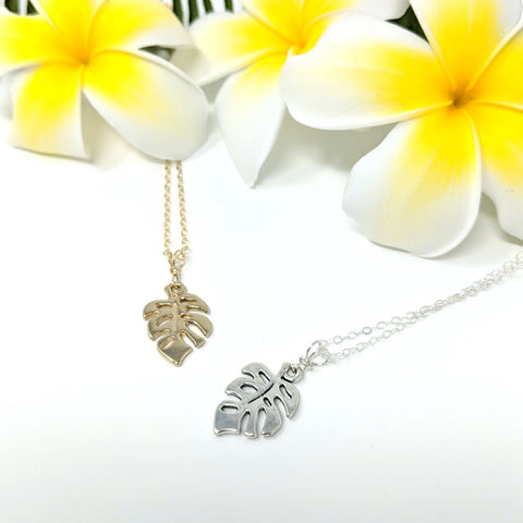Mini Monstera Charm Necklace