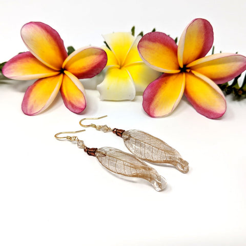 Copper Skeleton Leaf Earrings