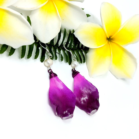 Fuschia Petal Earrings