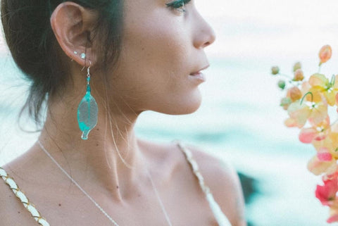 Teal Skeleton Leaf Earrings