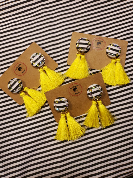 Busy Bee Button Tassel Earrings