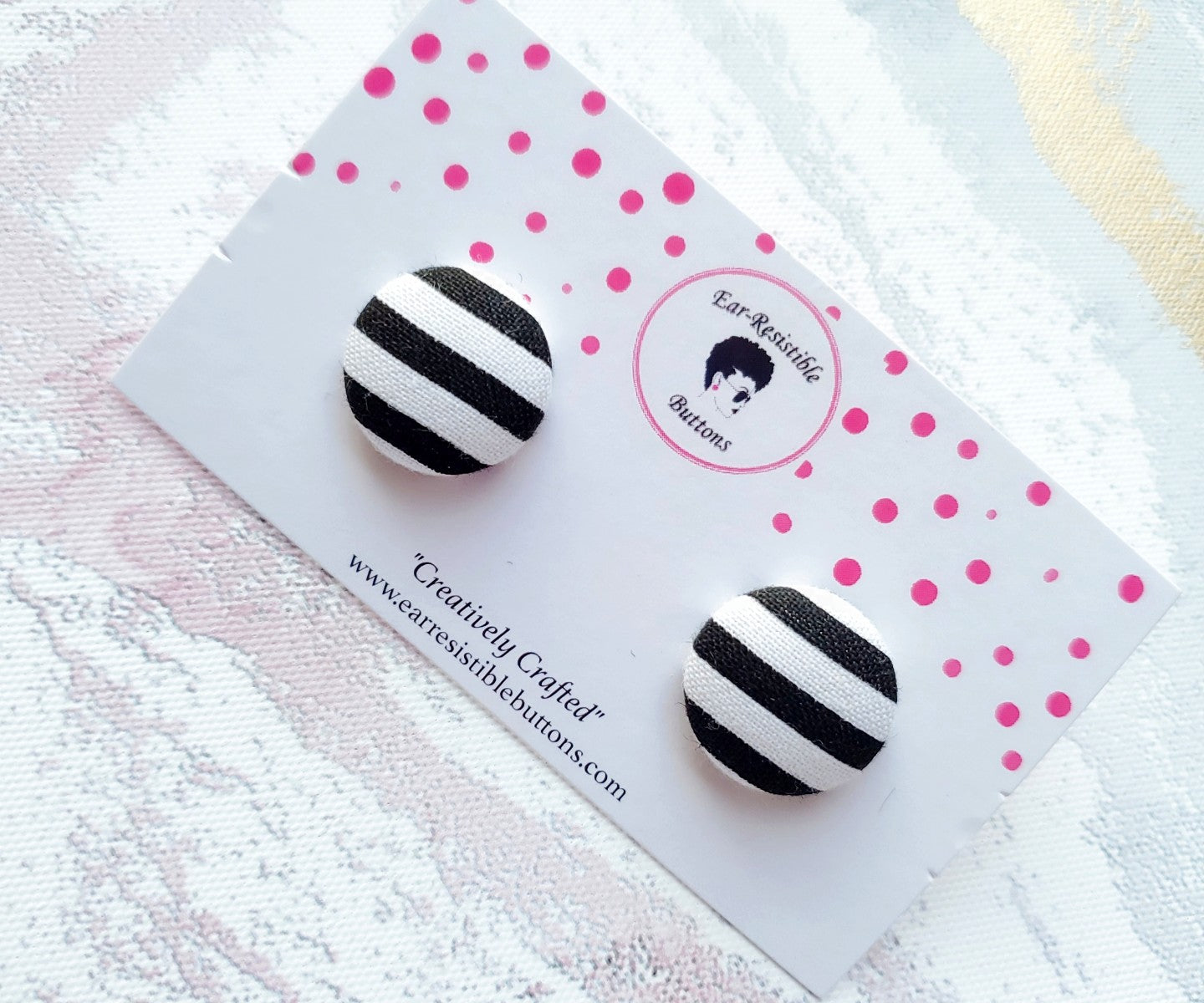 Black & White Striped Buttons