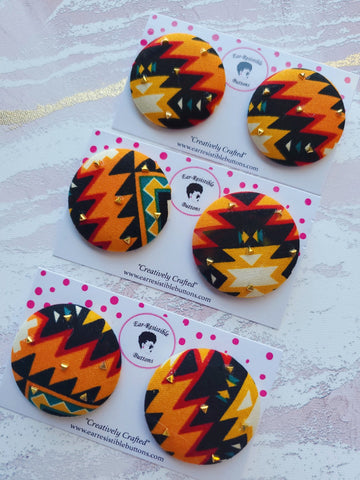 Aztec Fabric Covered Button Earrings