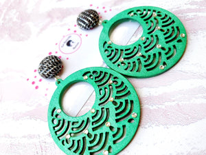 Green Ornament Wooden Earrings