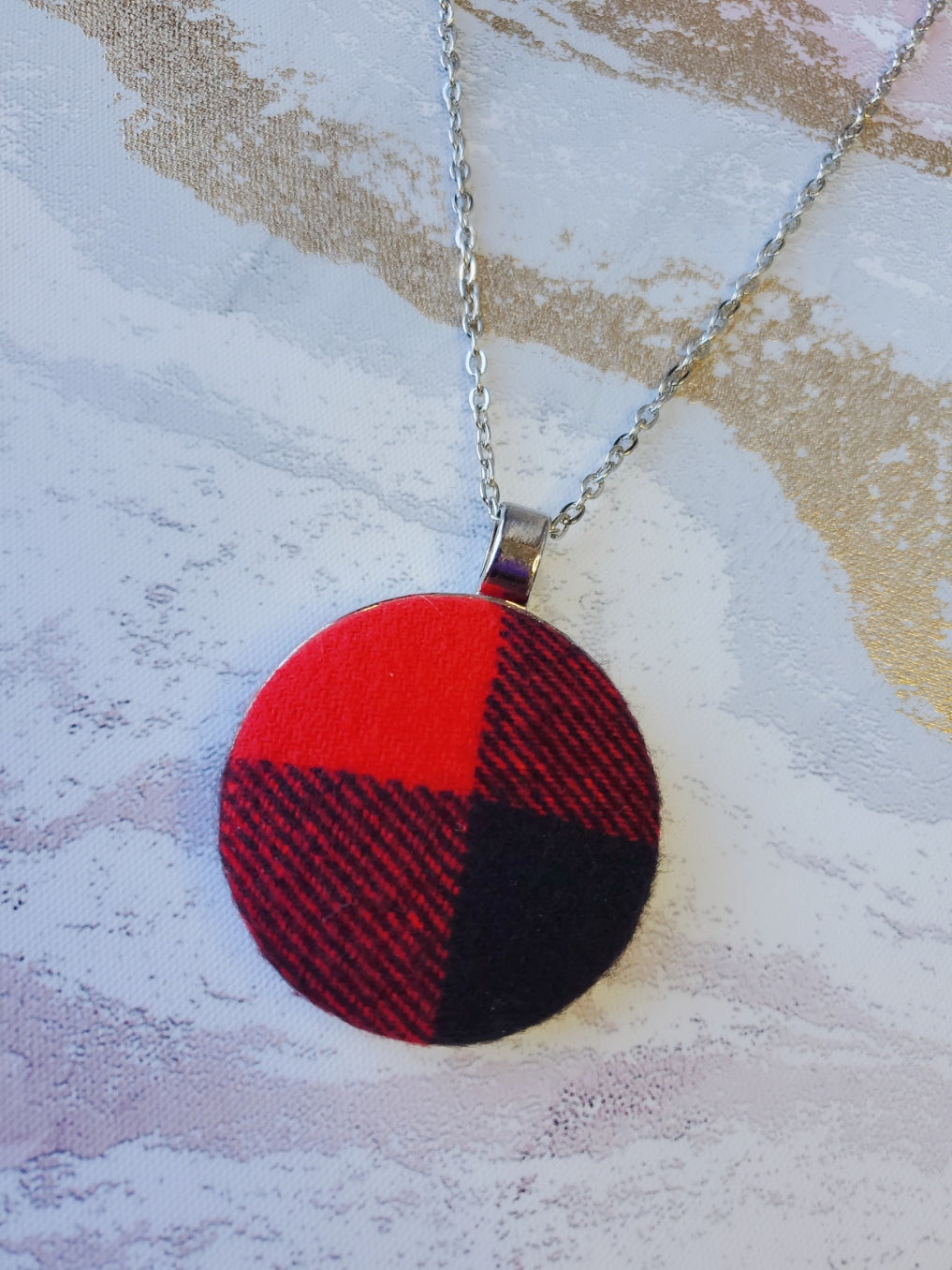 Red Buffalo Plaid Pendant Necklace