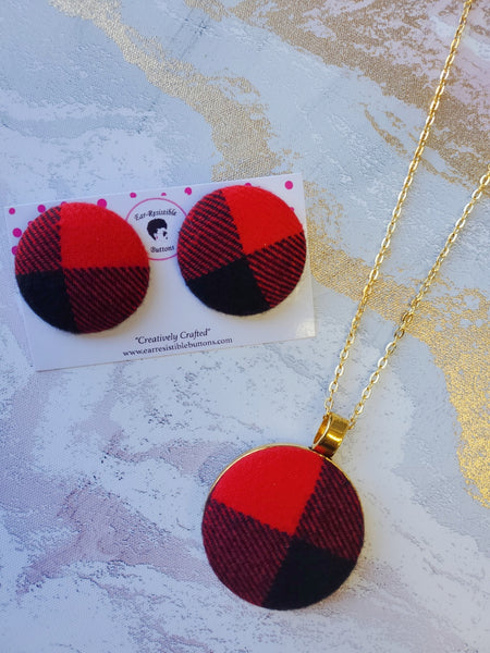 Red Buffalo Plaid Earring & Necklace Set