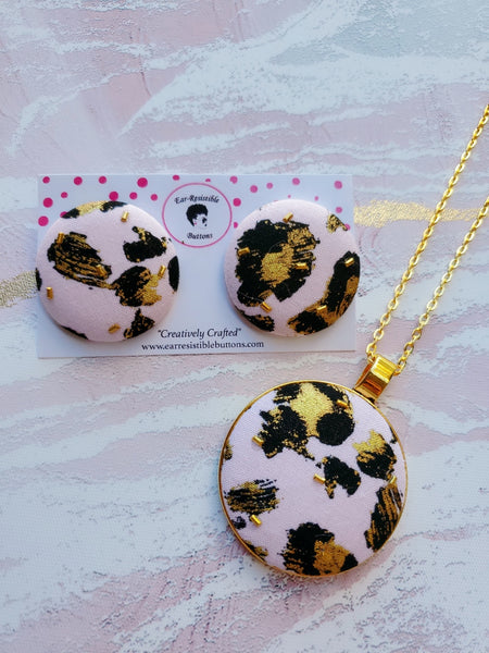 Pink Leopard Earring & Necklace Set