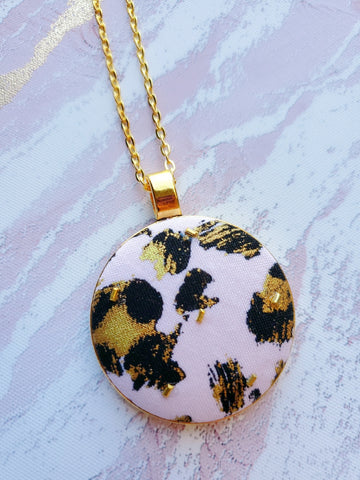 Pink Leopard Pendant Necklace