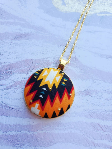 Aztec Print Pendant Necklace