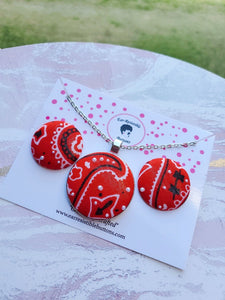 Red Bandana Button Earring & Necklace Set
