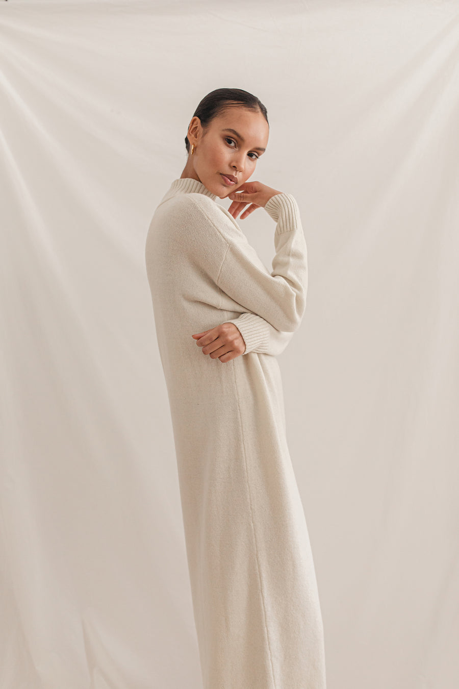Long Knit Dress, ivory