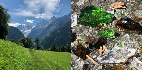 Two side-by-side, beautiful images. On left, a Swiss-mountain vista, and on the right, a close-up of crushed glass on the ground.