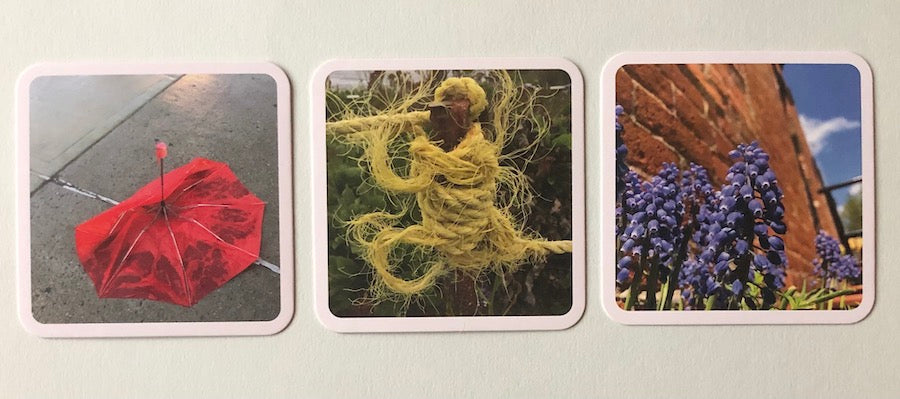 Three cards used in the Responsive Classroom Morning Meeting
