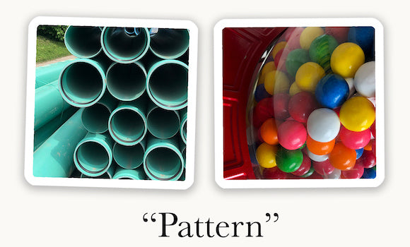 Two OuiSi photo cards connect visually based on a similar pattern (circles).