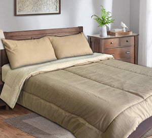 Double Comforter Set 4 Pieces Linen With Fur