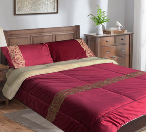 Double velvet quilt set with 4pcs fur
