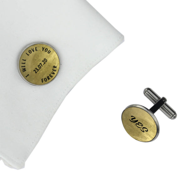 I WILL LOVE YOU FOREVER with YES and Date, Wedding Gift, Personalised cufflinks, customised cufflinks, MFY69
