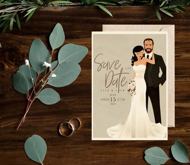 CUSTOM ILLUSTRATED ROMANTIC SAVE THE DATE
