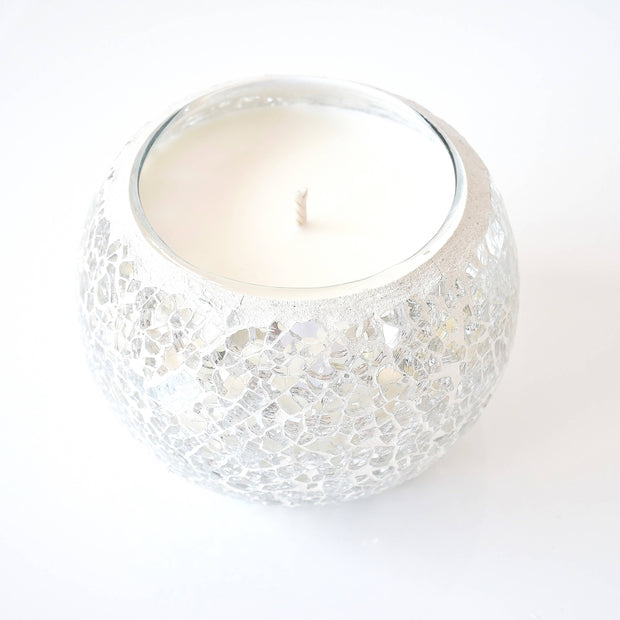 White & Silver Mosaic Soy Wax Candles