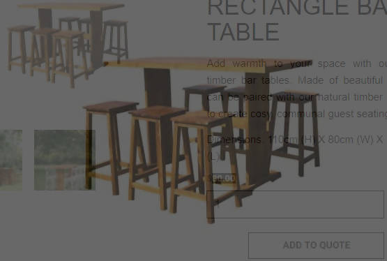 NATURAL TIMBER RECTANGLE BAR TABLE