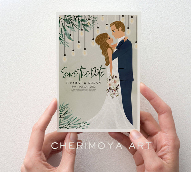 CUSTOM ILLUSTRATED VINTAGE SAVE THE DATE