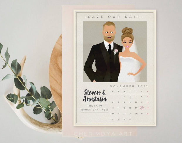 CUSTOM ILLUSTRATED MODERN SAVE THE DATE