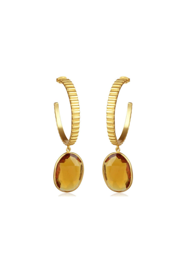GIGI - CITRINE HOOP BRIDESMAID EARRINGS - GOLD