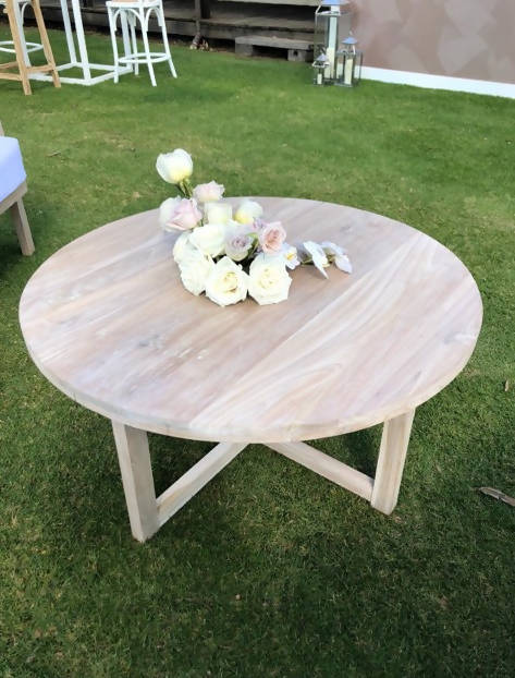 WHITE WASH ROUND COFFEE TABLE