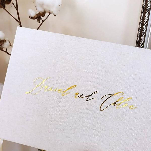 Linen Wedding Guest Book - Cloud