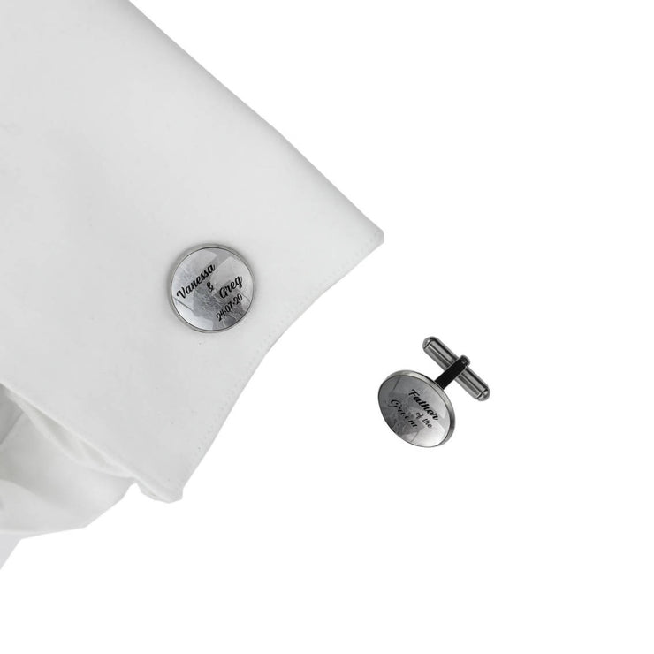 Personalised Cufflinks with Name & Date - Father of the Groom