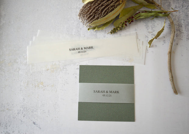 Vellum Belly Bands for Wedding Invitations - Customised & Made to Order