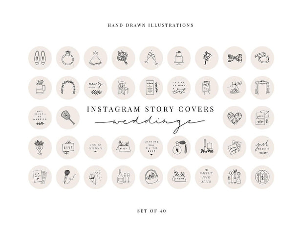 Set of 40 'Weddings' Instagram Highlight Story Covers