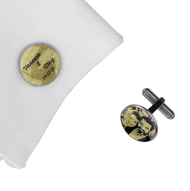 With Photo, Names and Date, Wedding Gift, Personalised cufflinks, customised cufflinks, MFY70