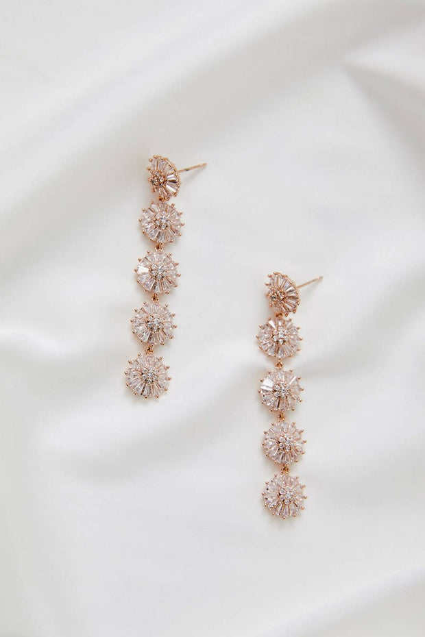 ZOEY BRIDAL FLORAL EARRINGS - ROSE GOLD