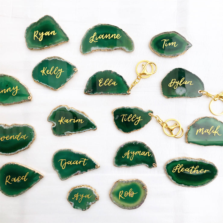 Sample - 1 x Personalised Agate Key Rings (with choice of color)