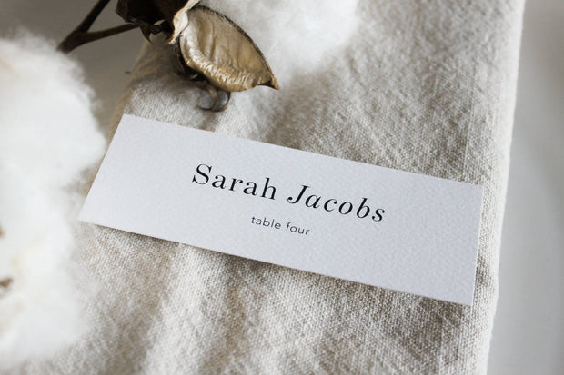 Sienna - Minimalist Place Cards on Textured Card Personalised
