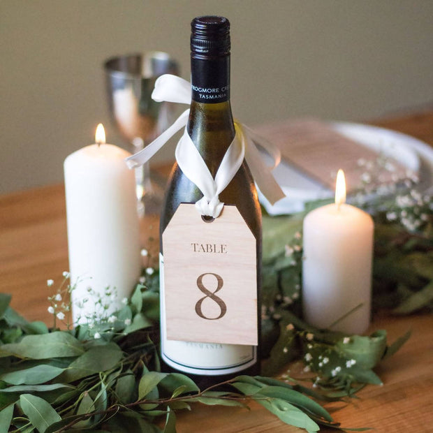 RUSTIC WOODEN TABLE NUMBER TAGS