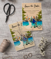 CUSTOM ILLUSTRATED TANDEM SAVE THE DATE