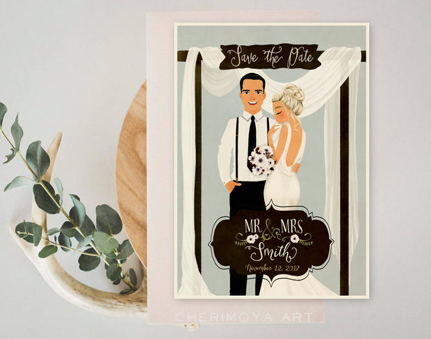 CUSTOM RETRO ILLUSTRATED SAVE THE DATE