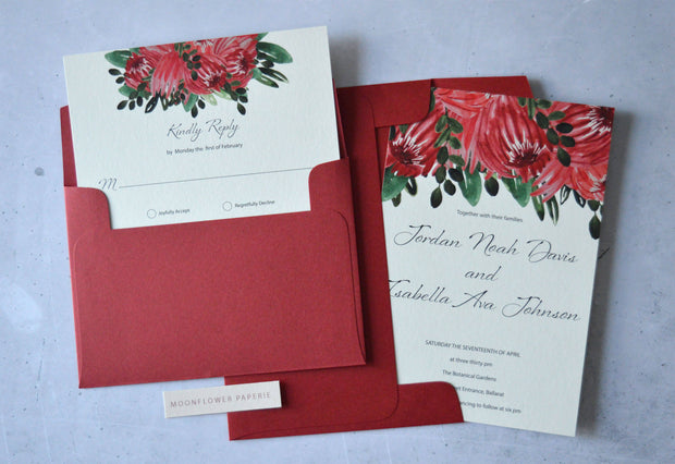 Wedding Invitation + RSVP Card Suite |5x7 & C6 Sizes | Red Proteas Collection
