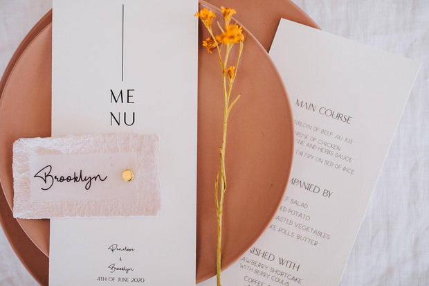 HARPER Pink deckle edge placecard