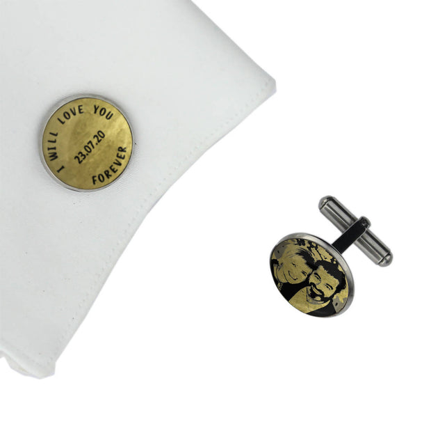 I WILL LOVE YOU FOREVER with Date and Photo, Wedding Gift, Personalised cufflinks, customised cufflinks, MFY67