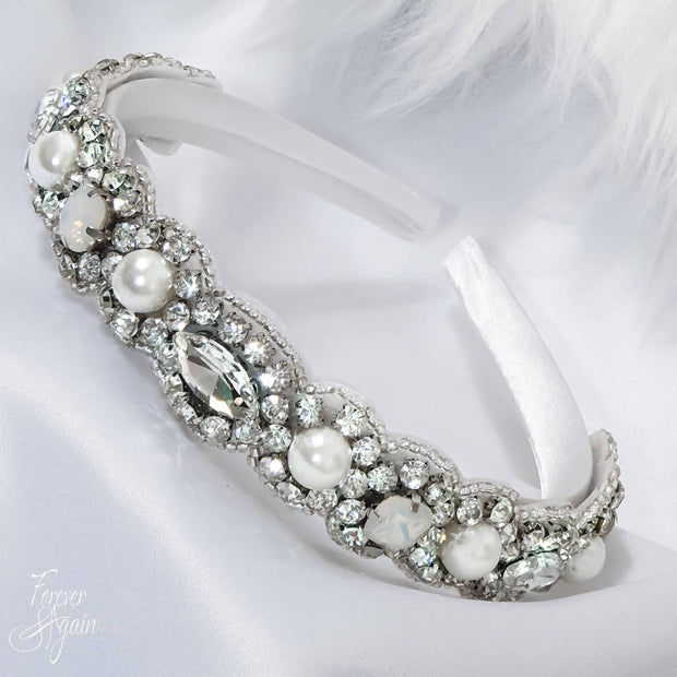 GOULDING OPAQUE HEADBAND C00594: HAIR ACCESSORIES, WEDDING HAIR, COCKTAIL, BRIDESMAIDS