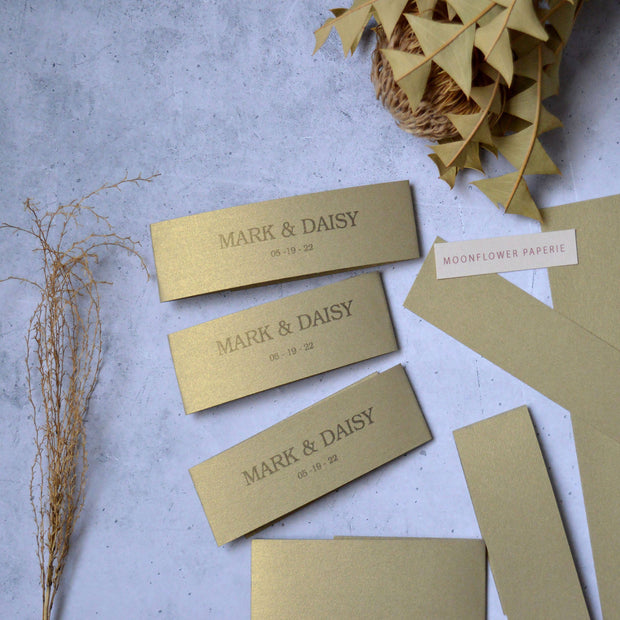 Gold Belly Band Personalised for Invitations - Made to Order