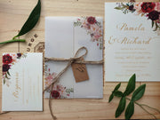 Vellum Burgundy Blush Wedding Invitation SET: Floral Design + Postcard RSVP OR info Card