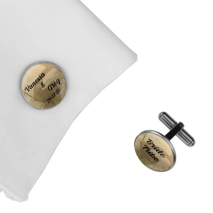 Personalised Cufflinks with Name & Date - Bride Tribe