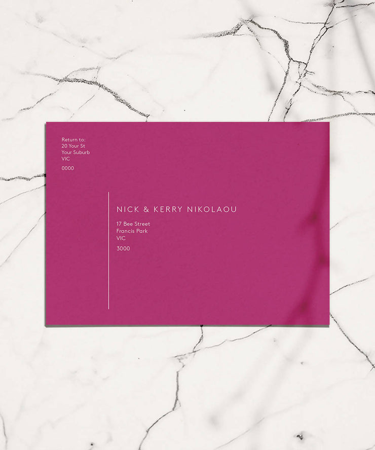 Coloured Save the Date Envelope + White Ink